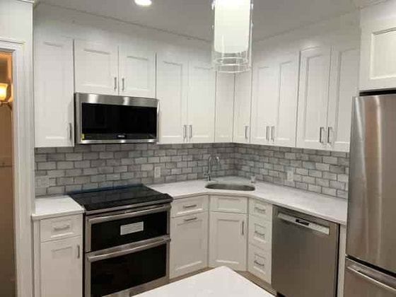 kitchen remodel with corner sink